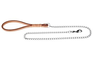 Bild von LEATHER/CHAIN LEASH W. HANDLE