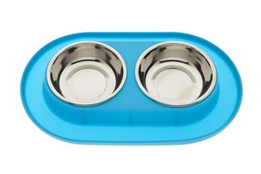 SMALL SILICONE DOUBLE BOWL LIGHT BLUE