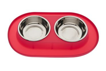 SMALL SILICONE DOUBLE BOWL RED